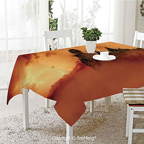 BeeMeng Large Family Picnic Tablecloth,Easy to Carry Outdoors,Nature,Fantastic Ancient Castle Over The Cliffs with Lightning Storm Fog Scary Mystery Image,Orange,59 x 104 inches