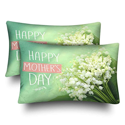 Valley The Bouquet Lily Of (PocaBlife Beautiful Valley Lily Bouquet Mother's Day Pillow Cases Pillowcase Queen Size 20x26 Set of One, Rectangle Pillow Covers Protector for Home Couch Sofa Bedroom Decoration)