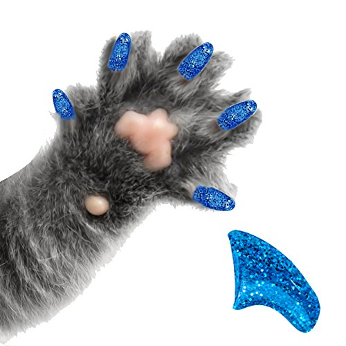 Pretty Claws 60 Piece Soft Nail Caps with Adhesive For Cat Paws - SAPPHIRE GLITTER MEDIUM