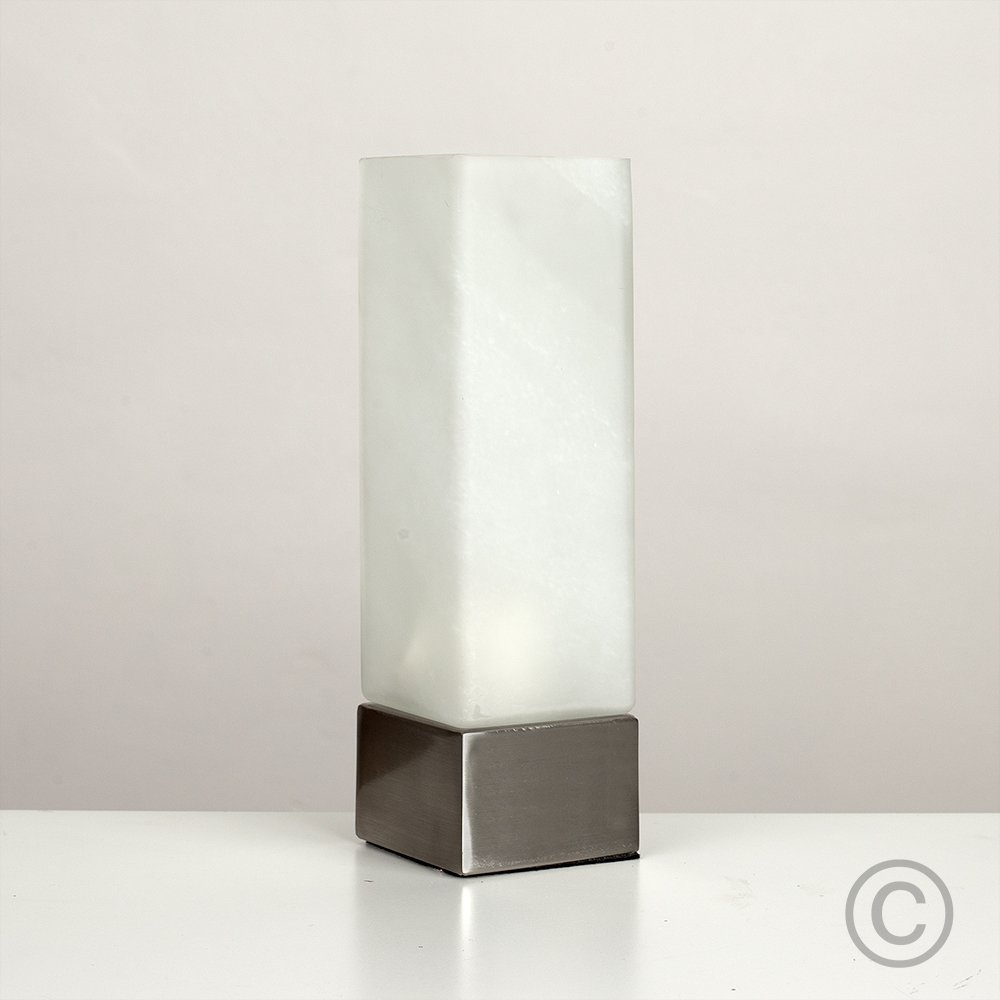 Square Dimmable Chrome And White Frosted Glass Touch Table Bedside ...