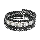 Beaded Freshwater Pearl Chakra Bracelet - Multi Strand Wrap Bracelet with Natural Crystal Agate Beads, Birthday Gifts for Women (Lava Black)