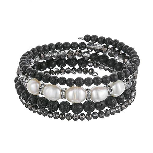 Beaded Freshwater Pearl Chakra Bracelet - Multi Strand Wrap Bracelet with Natural Crystal Agate Beads, Birthday Gifts for Women (Lava Black) ()