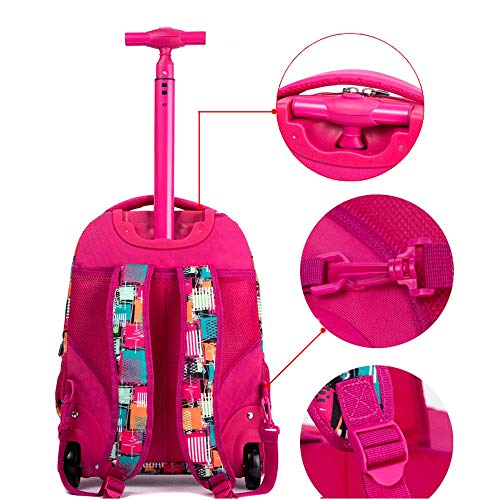 fec5e8ecb5e0 HONGNA Trolley Backpack Polyester Printing Pupils Pull Rods Men And Women  Bags Youth Backpack (color : H)