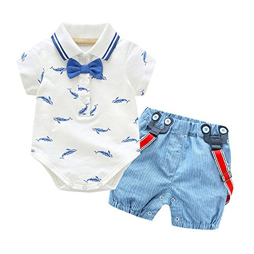 LNGRY Baby Clothes,Toddler Baby Girls Gentleman Bowtie Animal Shark Romper+Overall Shorts Sets (18-24 Months, White)