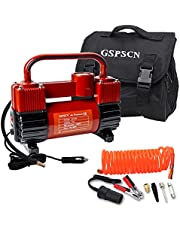 GSPSCN Tire Inflator Heavy Duty Double Cylinders, Portable Metal DC 12V Air Compressor, 150PSI Tire Pump with Adapter for Car, Truck, SUV Tires, Dinghy, Air Bed etc