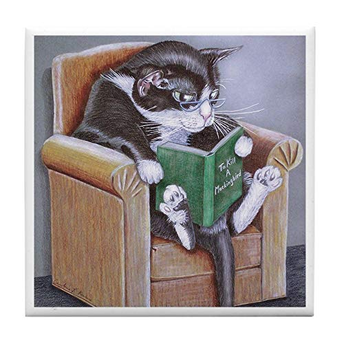 - CafePress Reading Cat Tile Coaster, Drink Coaster, Small Trivet