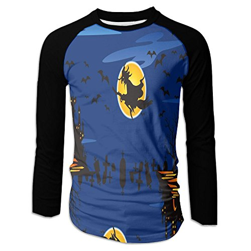 HenSLK Men's Halloween Witch Castle Casual Novelty Crew Neck Long Sleeve Raglan Baseball Tee Gift ()