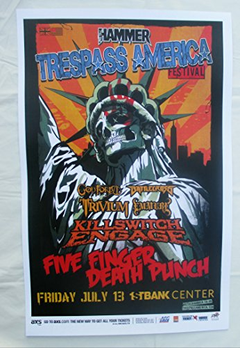 2012 Trespass America Five Finger Death Punch Killswitch Engage Trivium Concert Poster