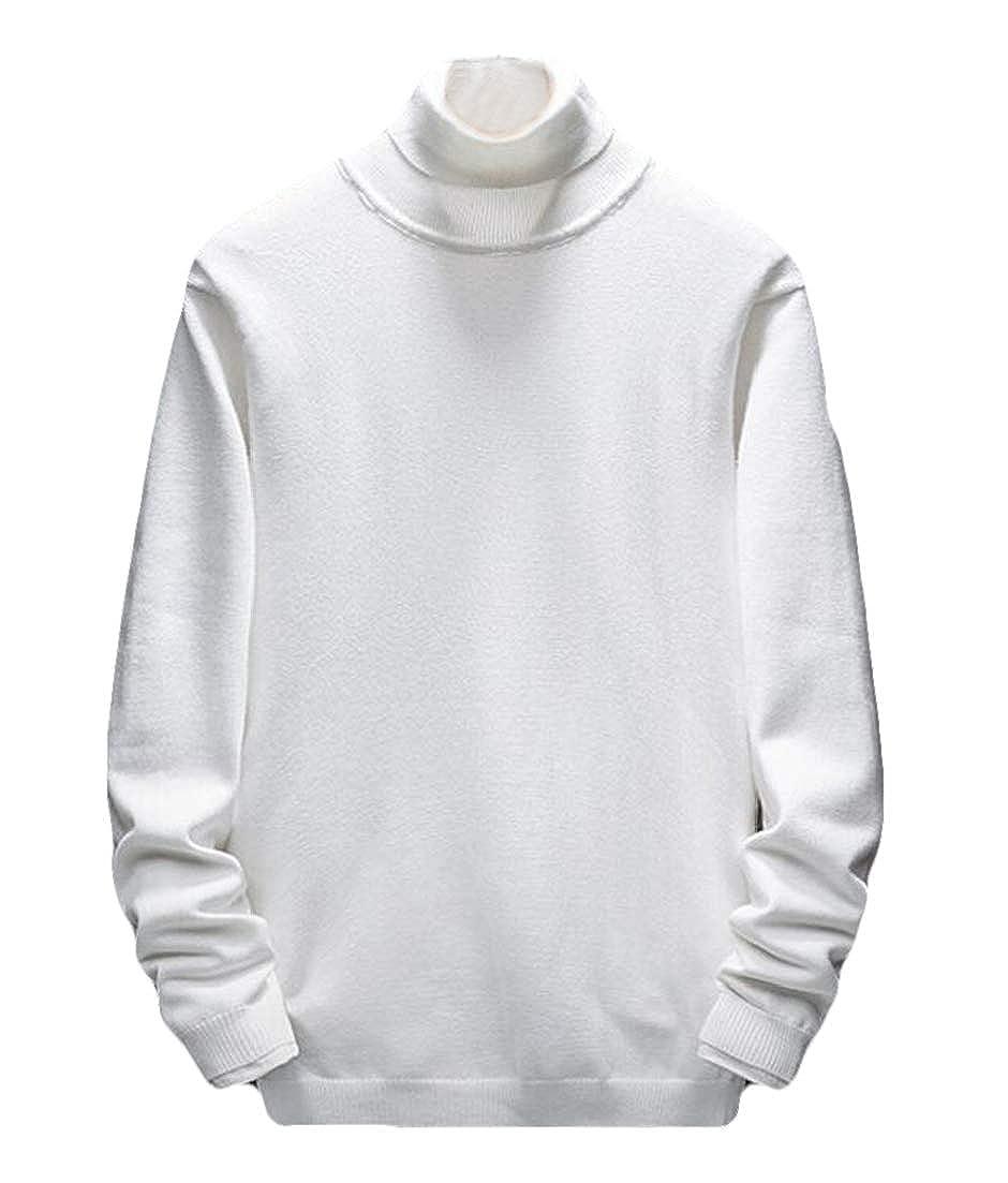 CRYYU Men Slim Fit Long Sleeve Solid Mock Turtleneck Sweater Pullover Top