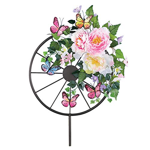 Collections Etc Floral Wagon Wheel Garden Stake with Butterflies, Colorful Outdoor Decorative Accent