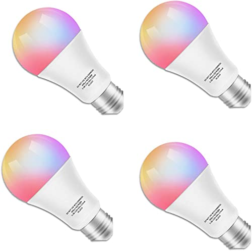 Smart LED Bulb Color Changing Light Bulb Compatible with Alexa, Google Home No Hub Required , A19 WiFi Bulb E26 60W Equivalent, RGB White 2700K Dimmable Color Smart Bulb, 9.5W UL Listed KULED 4Pack