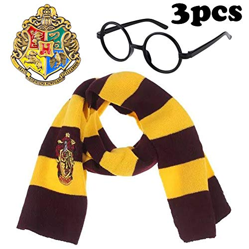 3Pcs Novelty Scarf Wizard Glasses Cosplay Set with College Badge Dress Up Costume Accessories Halloween Birthday Gifts Party Pretend Play Set for Kids Girls -
