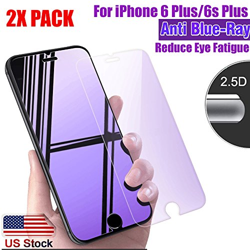 [2 Pack] ProPlusShield 9H Hardness Tempered Glass [HD Clarity] [Anti-Blue Ray] Anti-Blue Light Reduce Visual Fatigue Bubble Free Application Compatible with Apple iPhone 6 Plus / 6s - Iphone Break Screen Anti 6