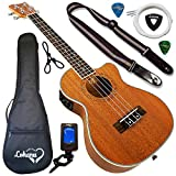 Ukulele from Lohanu Cutaway Electric With 3 Band EQ & Pick Up With All Accessories Included! (Tenor Size) Lifetime Warranty!