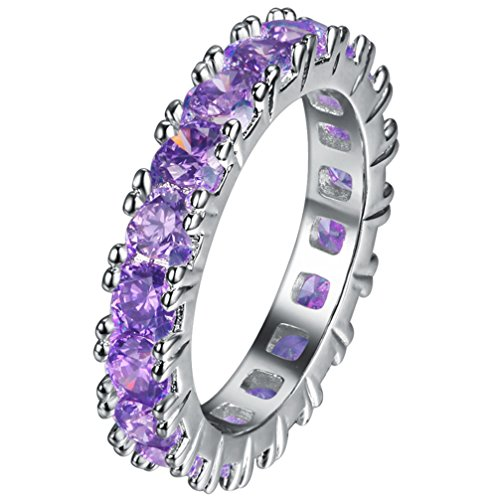 - FENDINA Womens Silver Plated Pretty Manmade Amethyst CZ Crystal Promise Engagement Wedding Bands Bridal Eternity Anniversary Rings for Her Valentin's Day Gifts