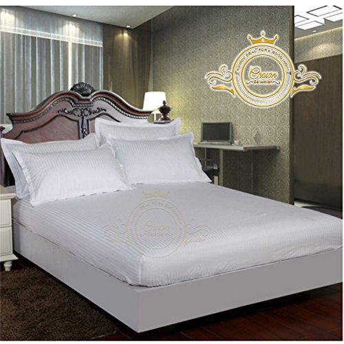 Crown Royal Hotel Collection Bedding's 750 Thread Count Egyptian Cotton Fitted Sheet Expanded/Olympic Queen Size 14'' Inch Deep Pocket White Striped Export Quality - White Queen 14' Drop
