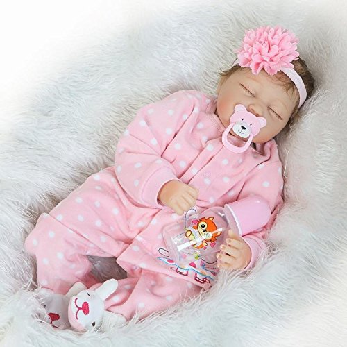 (Pinky Realistic 22 Inch 55cm Soft Dolls Vinyl Silicone Handmade Reborn Baby Dolls Real Touch Lifelike Looking Newborn Baby Girl Dolls Cute Child Birthday and Xmas Gift)