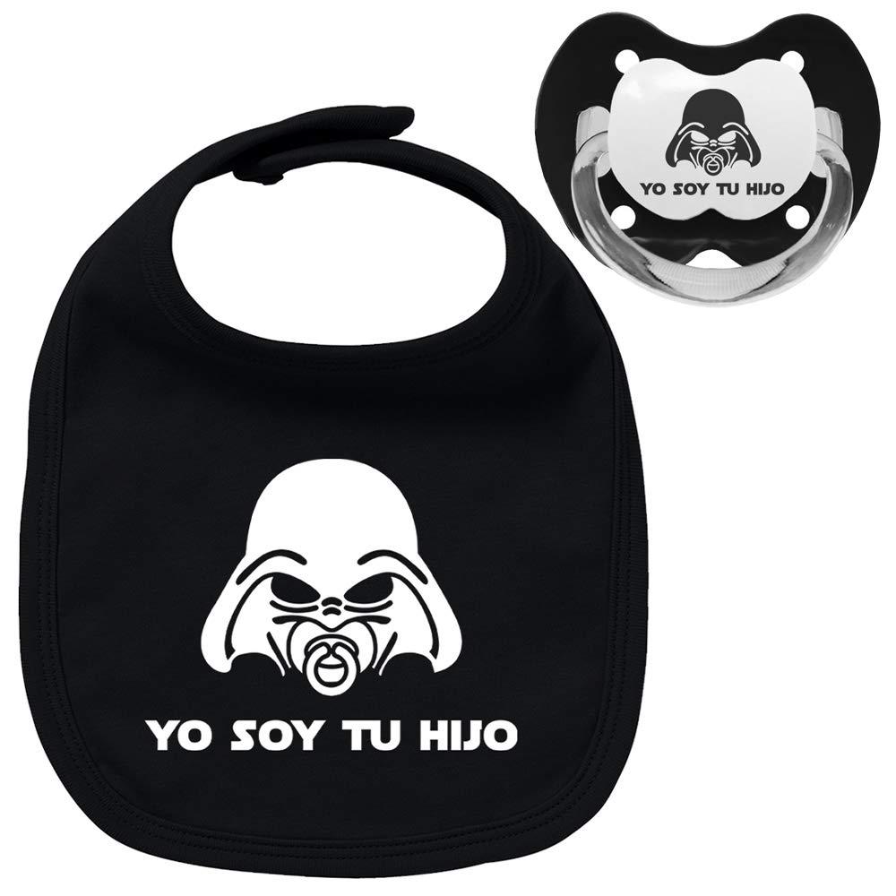 Pack chupete y babero negros Yo soy tu hijo, bebé parodia Star Wars - Darth Vader. Chupete negro. Babero negro. (negro, 0-6 meses)
