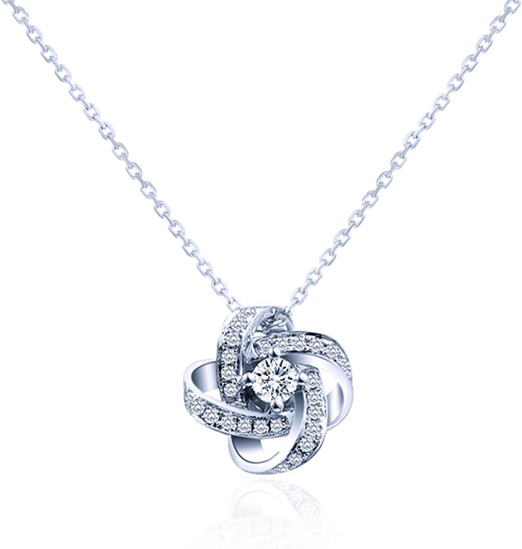 Amazon Com Carleen 14k Solid White Gold Love Knot Diamond Pendant Necklace With A Center Stone Fine Jewelry For Women Girls Jewelry