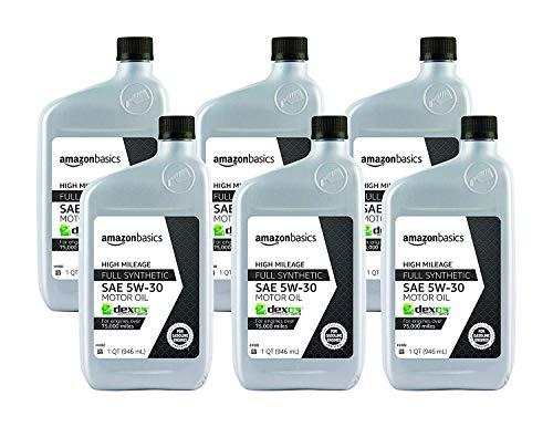 AmazonBasics High Mileage Motor Oil, Full Synthetic, SN Plus, dexos1-Gen2, 5W-30, 1 Quart, 6 Pack