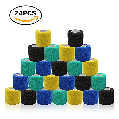 (Tattoo Grip Tape Cover - Romlon 24pcs Disposable Cohesive Tattoo Grip Cover Wrap Self Bandage Roll Elastic Handle Grip Tape for Tattoo Machine Tattoo Grip Accessories, Sports Tape Cover Mix Color)