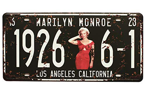 "Marilyn Monroe 19266-1 Los Angeles California Vintage Auto License Plate, Embossed Tag Size 6"" X 12"""