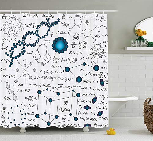 (Ambesonne Abstract Shower Curtain, Science Physics DNA Molecule Formulas Atomic Chemical Analyses Display, Fabric Bathroom Decor Set with Hooks, 75 Inches Long, Baby and Petrol Blue)