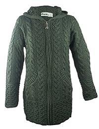 West End Knitwear 100% Irish Merino Wool Ladies Hooded Aran Zip Sweater Coat