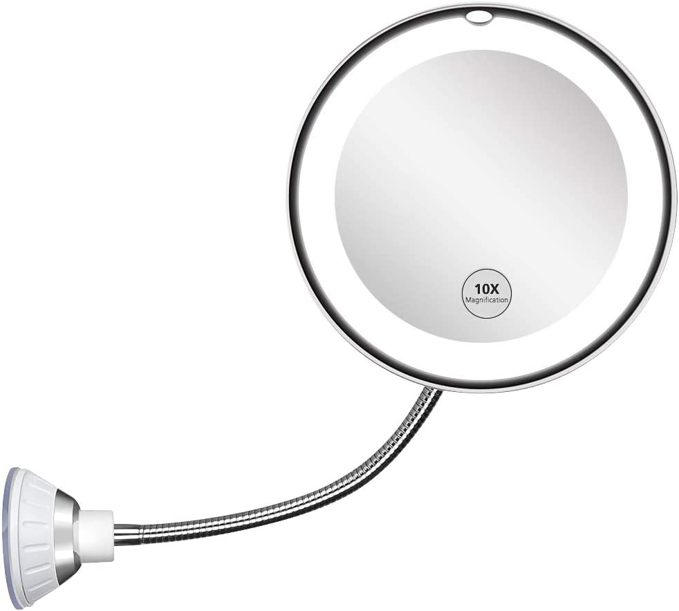 Updated 2020 Version 10X Magnifying Mirror With Light,Lighted 10X Magnifying Makeup Mirror With Light Poweful Suction Cup,360°Rotation Flexible Gooseneck Led Lighted Makeup Mirror For Bedroom Bathroom: Kitchen & Dining