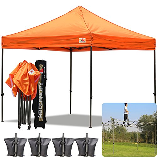 AbcCanopy 10×10 Pop up Tent Instant Canopy Commercial Outdoor Canopy with Wheeled Carry Bag and 4x Weight Bag (orange)