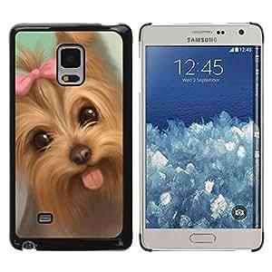 Be Good Phone Accessory // Dura Cáscara cubierta Protectora Caso Carcasa Funda de Protección para Samsung Galaxy Mega 5.8 9150 9152 // Yorkshire Terrier Puppy Tongue Pink Bow Dog