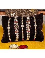 TIED RIBBONS Raksha Bandhan Bracelet Rakhi Thread for Brother (Set of 5 Rakhi with Wishes Card)
