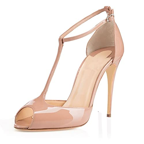 366f62ed5cfb9 elashe - Scarpe da Donna - Peep Toe T-Strap Tacchi Alti- 10CM Tacco a  Spillo - con Cinturino Caviglia Fibbia  Amazon.it  Scarpe e borse