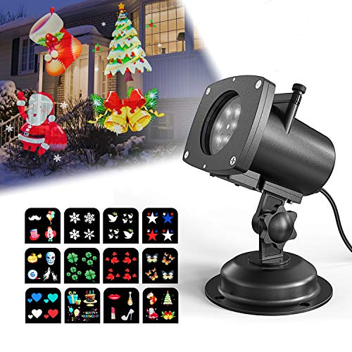 Christmas Projector Lights Outdoor, OxyLED 12 Slides Landscape Projection Lights, Waterproof LED Projection Lamp for Outdoor Indoor Xmas Theme Party, Yard Garden Decoration