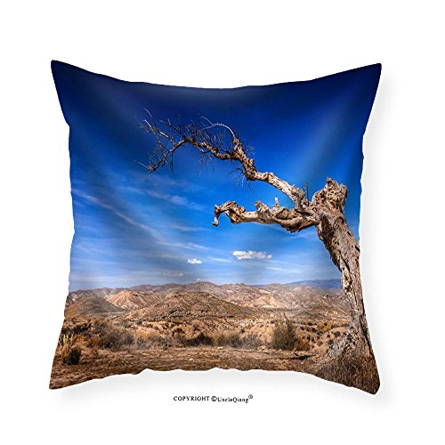 VROSELV Custom Cotton Linen Pillowcase Parched Tree in the Desert Landscape-Spain Almeria - Fabric Home Decor 16''x16'' by VROSELV