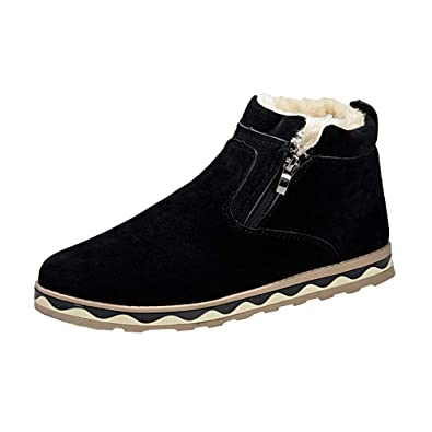 a37f81635aaac Mens Casual Boots Warm Ankle Snow Boots Winter Zip Up Boots Outdoor ...