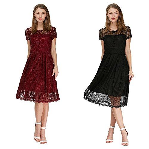 Rosegal - Vestido de Mujer, Vintage, de encaje, de cuello redondo, Vintage, Floral, línea A rojo rojo vino X-Large: Amazon.es: Ropa y accesorios