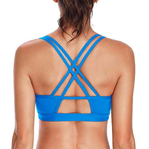 (V FOR CITY Strappy Sports Bras Full Coverage Racerback Workout Padded Bras Athletic Yoga Tops Navy S)