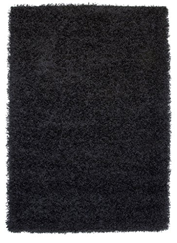 "Thick Modern Small Medium Soft Anti Shed Luxury Vibrant Shaggy Area Rugs - 8 Colours & 5 Sizes Available (Black 2' x 3'7"")"