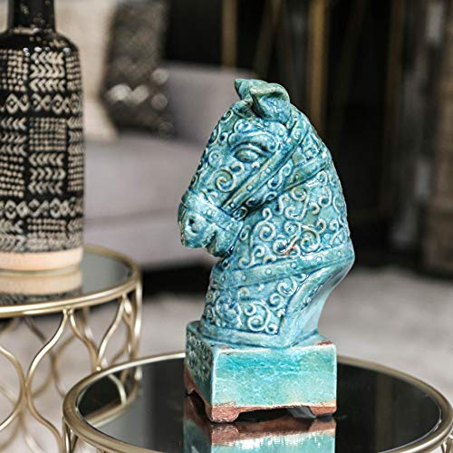 Urban Trends 50780 Decorative Ceramic Horse Head on Stand, Small, Turquoise Antique Finish