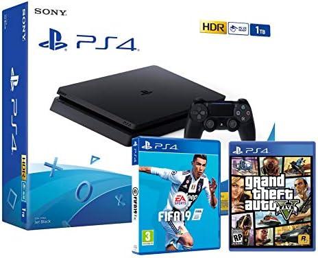 PS4 Slim 1Tb Negra Playstation 4 Consola + FIFA 19 + GTA V: Amazon ...