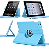 FreeAir 360 Rotating PU Leather Ultra Thin Smart Cover Auto Sleep/Wake Feature Stand Case For iPad 2 3 4 Generation (lightblue)
