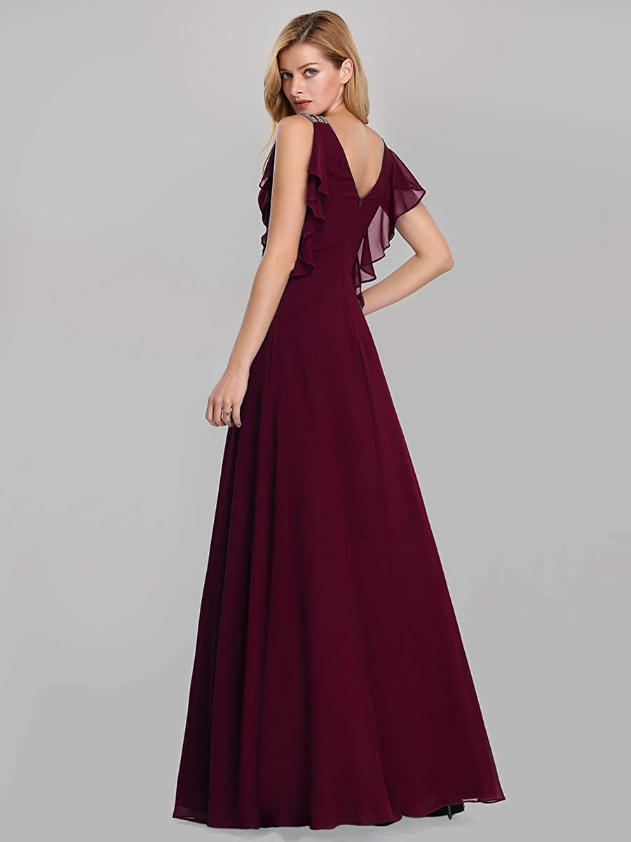 Ever-Pretty Vestito da Cerimonia Donna Chiffon Linea ad A Girocollo Senza Stile Impero Lungo 07891
