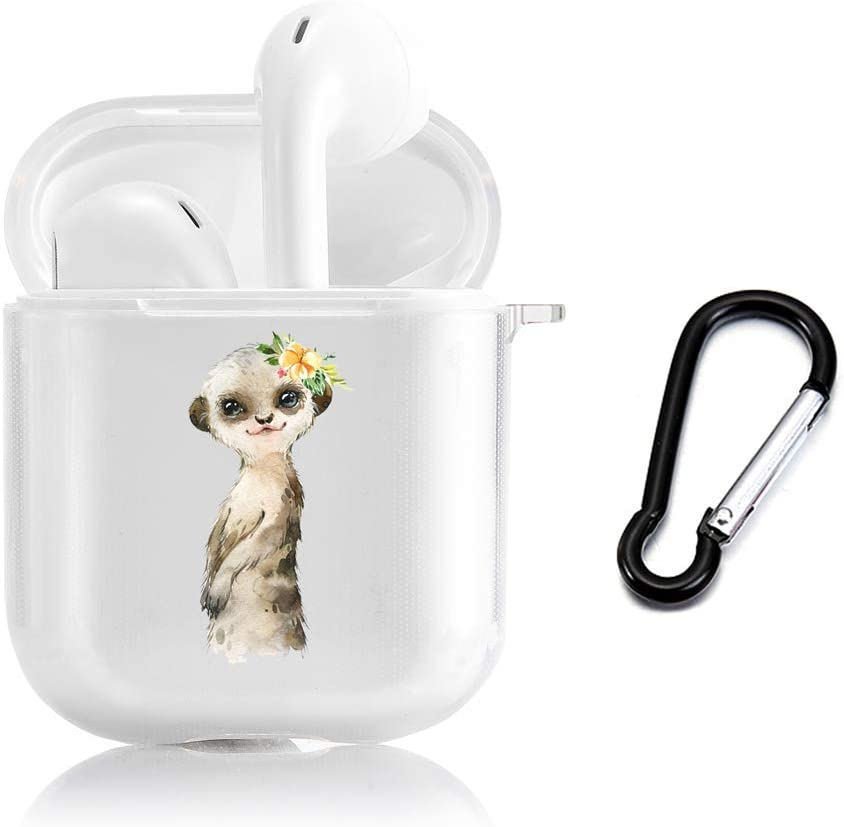 LALAPOPO Compatible with Airpods 1/2 Cute Sea Otter Case, Clear Protective Soft TPU Cover for Apple Airpods 2 &1 with Keychain, Kawaii Fun Cases for Girls Kids Teens Air pods