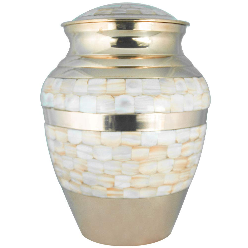 Cremation Urns for Human Ashes Adult, Funeral Urn for Women - Handcrafted in Brass - Display Burial at Home or in Niche at Columbarium (Mother of Pearl Golden, Large Metal Urn for Ashes Adult by M MEILINXU