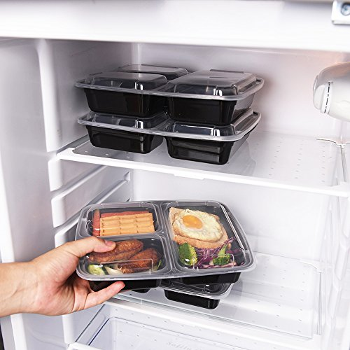 samrog 10 pack 3 compartment bento lunch boxes with lids reusable stackable microwave. Black Bedroom Furniture Sets. Home Design Ideas