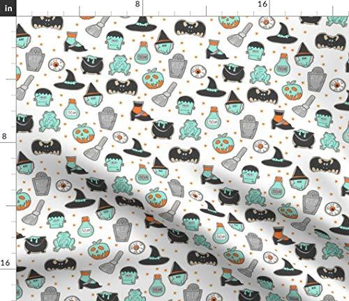 Spoonflower Cookies Fabric - Halloween // Cute Food Potion Frog Witch Frankenstein White by Cookie Biscuit Print on Fabric by The Yard - Denim for Sewing Bottomweight Apparel Home Decor Upholstery]()