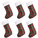 """SANNO 6 pcs 16"""" Christmas Hanging Stockings, Plaid Stocking Craft Socks Trendy Red and Green Tartan Christmas Stocking with Snowflake Decorations, 16"""" Long"""