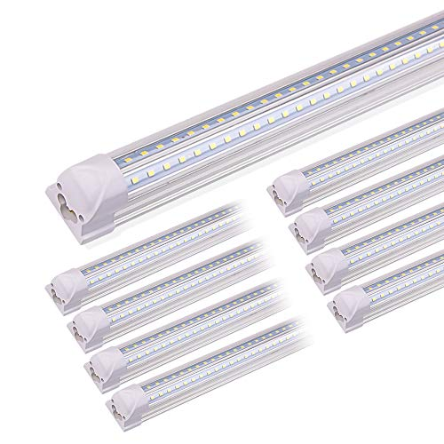 Kihung 8FT LED Shop Lights for Garage, V Shape T8 Integrated Tube Light Fixture, 6000K Daylight. 9000LM, 75W, LED Tube Light Replacement, Linkable Strip Ceiling Lights, Plug and Play, Clear, 8-Pack