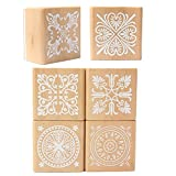 SODIAL(R) 6 Assorted Wooden Stamp Rubber Seal Square Handwriting DIY Craft Flower Lace
